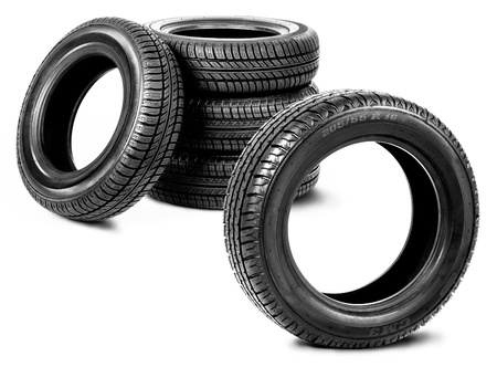 Five tires isolated on the white background