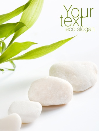 stone spa: White stones  Space for text Stock Photo