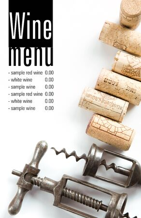 Winery menu project  Unique old corkscrews, corks  Space for text isolated on white   Stock Photo