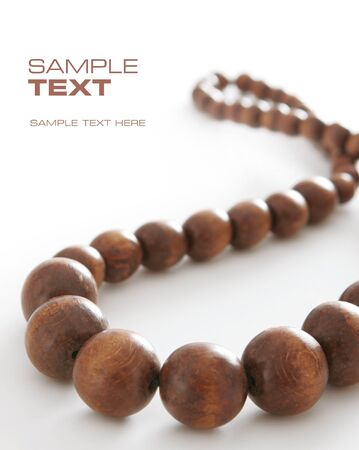ladylike: Brown beads  Space for text Stock Photo