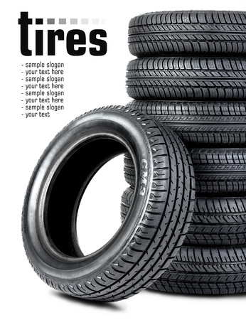 Black tires on the white background Stock Photo