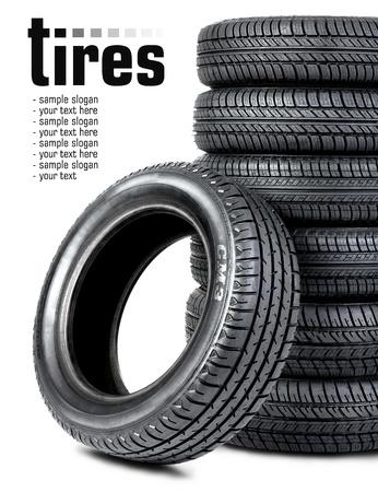 Black tires on the white background Stock Photo