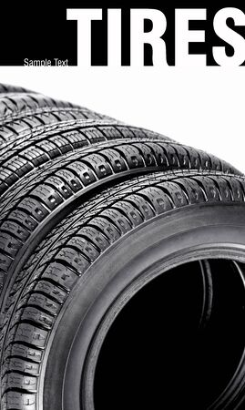 Car tires on the white background photo