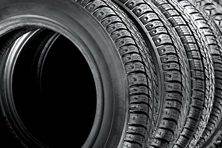 Closeup on car tires photo