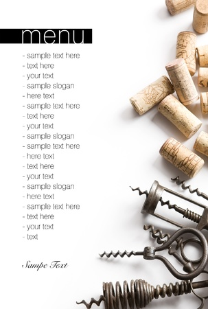 Winery menu project  Unique old corkscrews   corks on white table cloth  Space for text isolated on white