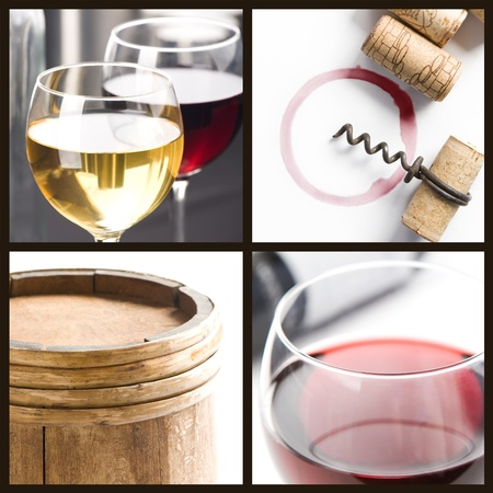 Wine collage; Glasses of white and red wine, corks, corkscrew, barrel  photo