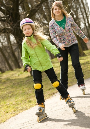 rollerblading: Girls on the rollers