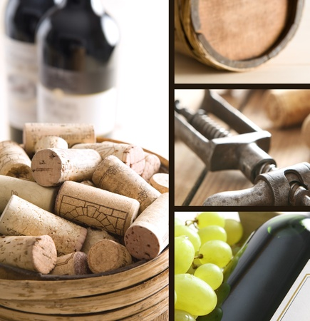 Red wine, corks and old corkscrew Stock Photo