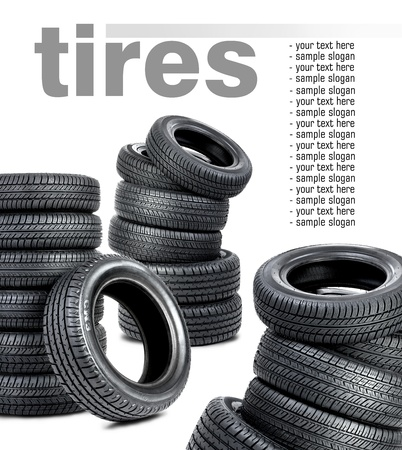 Tires on the white background photo