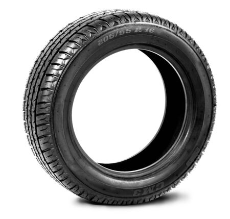 Black tire on white photo