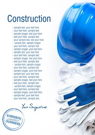 Protective gloves and crash helmet isolated on white background  Space for text