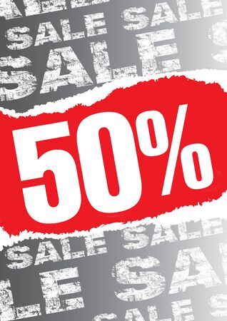 big sale: Gray sale poster with teared out red space for text