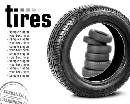 Car tires  Space for text photo