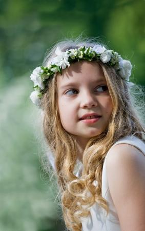 confirmacion: Primera Comunión niña hermosa Foto de archivo
