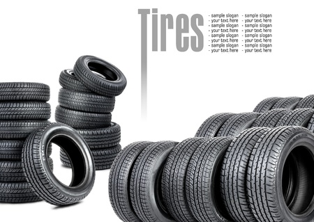 Tires isolated on white background photo