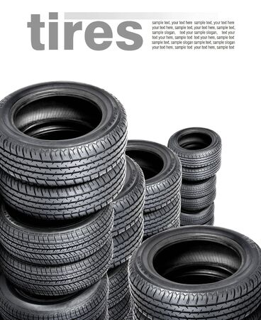 Tires isolated on white  Space for text photo