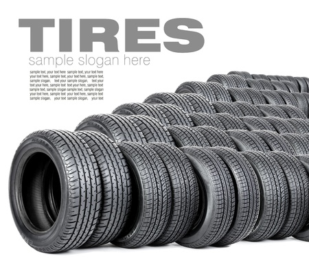 Tires on white  Space for text photo