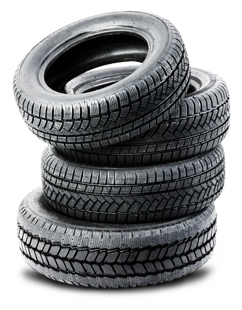 Stack of tires isolated on white background