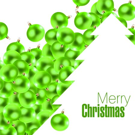 Small green christmas glass-balls and white christmas tree as a space for your text photo