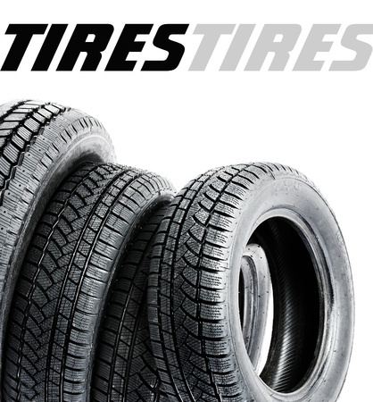 black tires on white background  Space for text photo