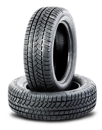 two black tires on white background photo