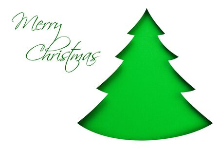 snippet: Green christmas tree isolated on white Stock Photo