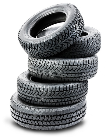 road surface: tires on the white background - isolated