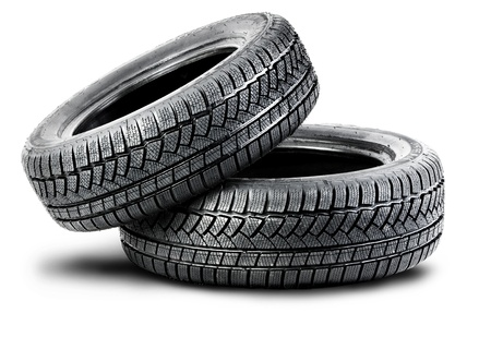 tire marks: two black tires on the white background Stock Photo