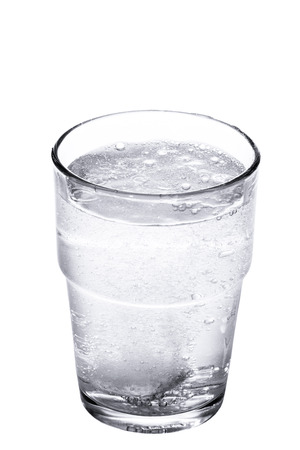 fizzy tablet: tablet in glass of clean water isolated on white