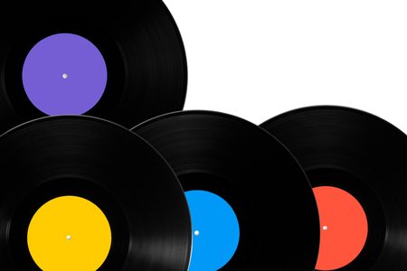 vinyl records: Vinyl records with different colored labels Stock Photo