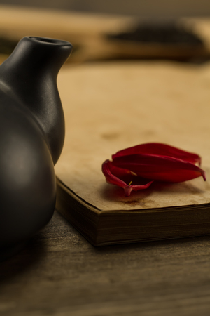 information age: petals of a flower on old blank open book on wooden background