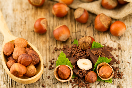 hazelnut with chocolate bars and green leaves on old wooden background Standard-Bild