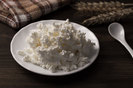 fresh tasty cottage cheese on a plate on wooden background. Homemade, curd