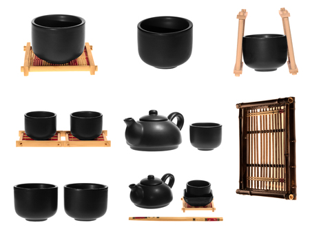 Collage of Chinese tea on white background Standard-Bild