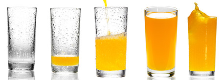 collage of orange juice in a glass on white background