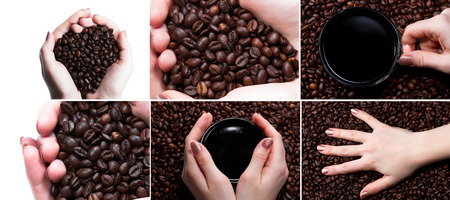 Cup with coffee and hand over coffee beans background. Collage Reklamní fotografie