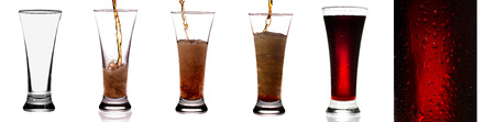 Glass of cola on the white background.  Collage