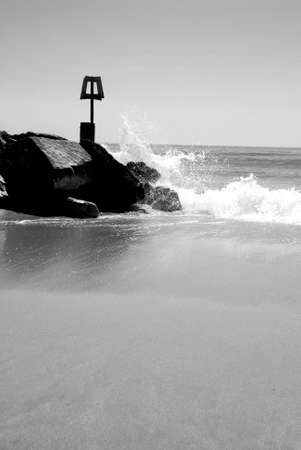 groyne: Waves crashing on Beach Groyne, Bournemouth Dorset