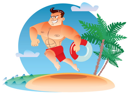 beach hunk: Macho water rescue with a torso in a swimsuit runs along the beach with a lifeline in the hands Illustration
