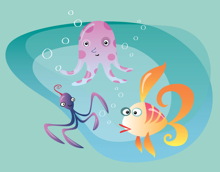 ichthyology: Underwater ocean life cuttlefish, octopus and fish. Bubbles and water