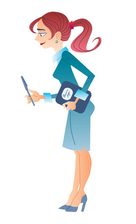 secretary office: Slim business woman with a pen and a folder in a business suit Illustration