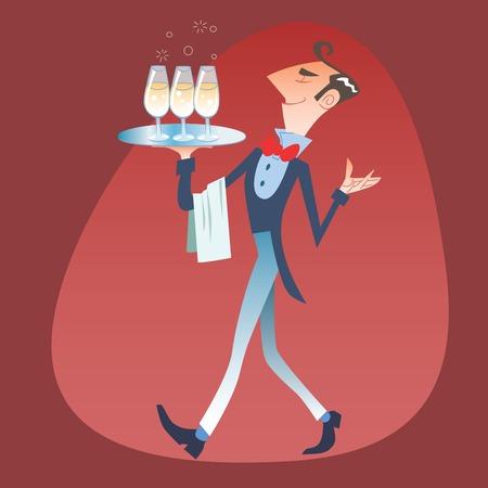 carries: Elegante cameriere porta un vassoio di bicchieri Vettoriali