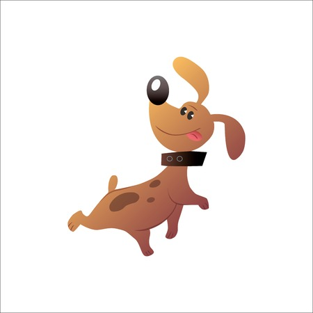 dog walk: Small funny dog with the collar sticking his tongue out Illustration