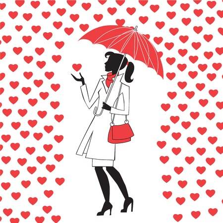 love in rain: Modern young woman with an umbrella in the rain of red hearts, a way of love and Valentine Day