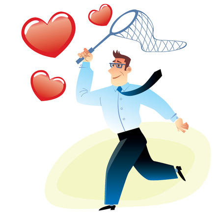 bespectacled: man with a net catches flying red heart image search love