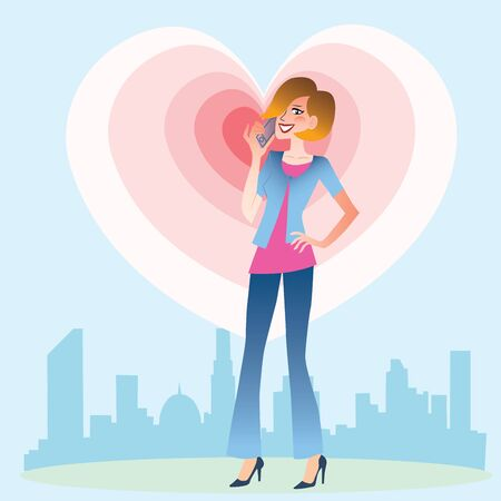 emanate: Young woman on the background of the city talking on the phone from which emanate waves of the heart