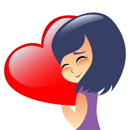 japanese people: Girl teen hugs heart pillow. The image on Valentines day, love and relationships