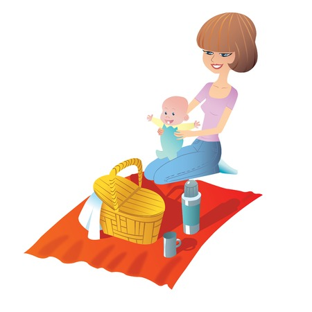 thermos: Young mother with baby on a picnic. Basket food stand on the Mat Illustration