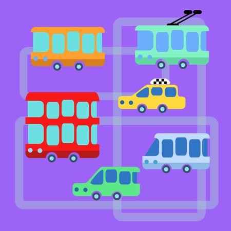 minibus: Collection urban public transport bus taxi trolley minibus