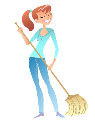 house wife: girl with the broom cleaner housewife volunteer